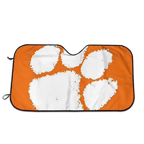 - Guillermo Ww Moon Fire Clemson Tiger Paw Football Car Sunshade Oxford Cloth Aluminum Foil Material Prevents Car Aging, Heat Resistance Comfort Car Windshield Sunshade