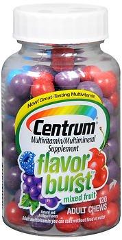 - Centrum Flavor Burst Adult Chews Mixed Fruit - 120 ct, Pack of 4