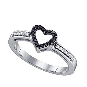 Size 7 - 10k White Gold Round Black Diamond Simple Heart Ring 1/8 Cttw