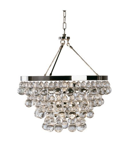 Robert Abbey S1000 Chandeliers with Glass Drops Shades, Polished Nickel Finish