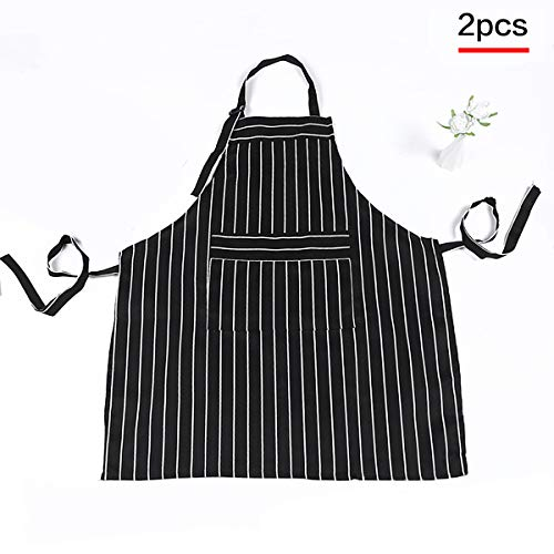 Whispex Waterproof and Oil-Proof Sleeveless Apron with Vertical Stripes. Black Pinstripe (30 x 25 Inches) Commercial Restaurant and Home Kitchen Apron.2 Pack (Black)