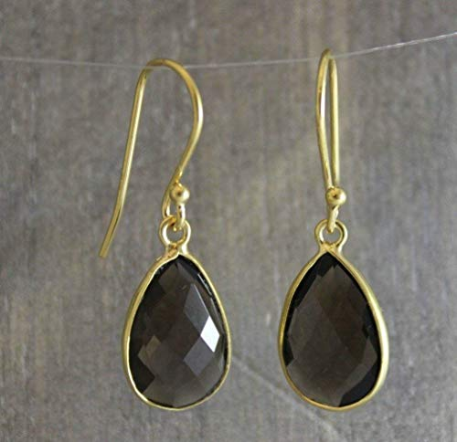Smoky Vermeil Earrings - Smoky Quartz Gold Plated Sterling Silver Earrings