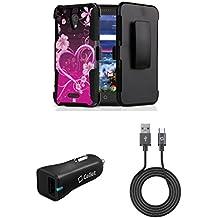 Alcatel Raven LTE | Verso | IdealXCITE | CAMEOX - Bundle: Shockproof Kickstand Belt Holster Case - (Purple Love Flowers), 18 Watt Qualcomm Quick Charge 3.0 Car Charger, Micro USB Cable, Atom Cloth