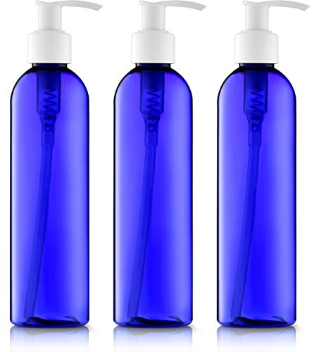 8 Oz. Round Blue with White Pumps, Great for - Creams, Body Wash, Hand Soap, Self-Tanners, Bronzers and Massage Lotion (Pack of 3) ()