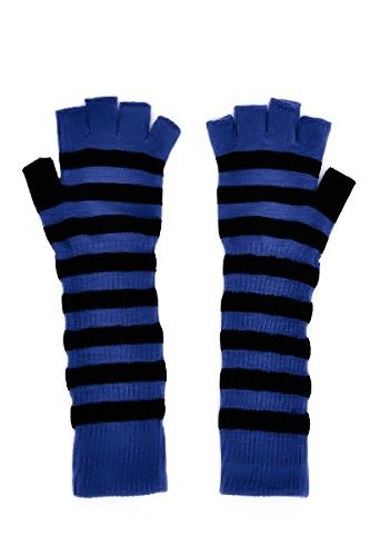 Womens Warm Winter Arm Warmer Knit Fingerless Long Gloves 5 Half Fingers (Violet Blue ()
