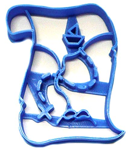 (TREASURE MAP BURIED LOST MINE HUNT PIRATE VALUABLE HIDDEN SECRET CLUE LOCATION SPECIAL OCCASION COOKIE CUTTER BAKING TOOL 3D PRINTED MADE IN USA PR2379 )