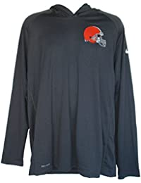 Cleveland Browns Adult 2X-Large 2XL Lightweight Hooded Performance Long Sleeve Shirt - Gray