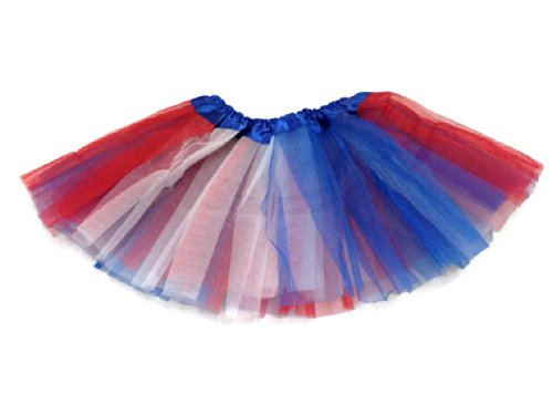 Rush Dance Colorful Ballerina Girls Dress-Up Princess Costume Recital Tutu (Infant, Red/Blue/White (Patriotic)) -