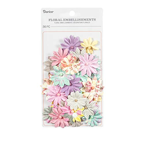 Embellishments Flower Paper (Darice 30061965 Mixed Daisy Floral Embellishments: 1.5 inches, 36 Pack, Assorted)
