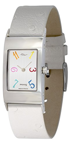 Moog Paris Classic Women's Watch with Brushed Silver Dial, White Strap in Genuine Leather - M41621-404