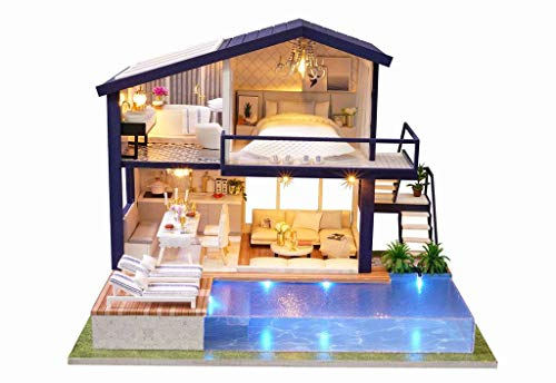 Rylai 3D Puzzles Wooden Handmade Miniature Dollhouse DIY Kit w/ Light-Time Apartment Series Dollhouses Accessories Dolls Houses with Furniture & LED & Music Box Best Xmas Gift for Women and Girls