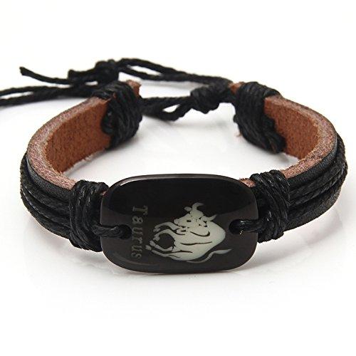 SportSpirit Charm Constellation Bracelet Jewelry Gift - Handmade Vintage Taurus Sign Personalized Leather Wristband Bangle