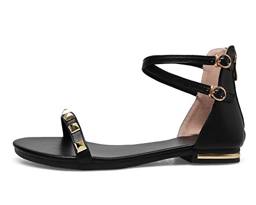 Solid Open Low Heels WeenFashion Sandals Women's Black Toe Pu CA18LB04830 Zipper SqHXHO