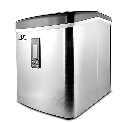 Yongtong Ice Maker, Countertop Automatic Icemaker Machine Producing 33Lbs per Day - 3 Selectable Cube Sizes - with Easy-Touch Buttons & LED Display, Stainless Steel, 3.3L(3.5QT) Capacity (Silver)