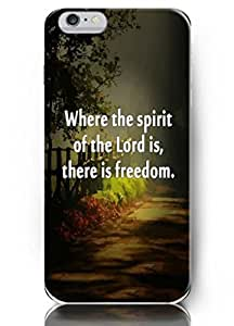 Iphone 6 4.7 Case OUO Inspiration Quotes where the spirit of the lord is, there is freedom Hard Plastic Iphone 6 Case Cover Protection