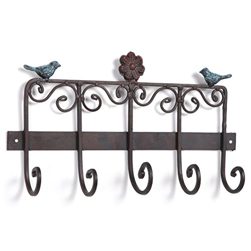Bird & Flower Scrollwork Design Wall Mounted Bronze Cast Iron Hanging Coat Storage Rack with 5 - Iron Cast Hanging