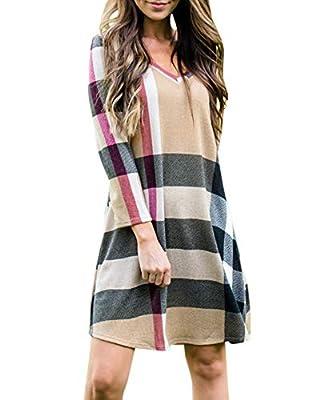 Tutorutor Womens Plaid Striped Long Sleeve T Shirt Casual V-Neck Tunic Dress