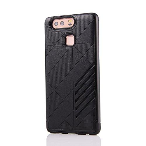 Huawei Honor 6 Plus Funda Case LifeePro Stylish 2 in 1 Patrón de teléfono híbrido [Anti-rasguños] [Antideslizante] Resistente a los golpes PU Cuero Dorado Contraportada + Caja de parachoques de alumin Negro