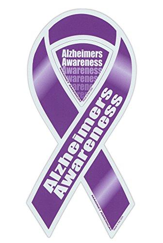 Magnetic Bumper Sticker - Alzheimer's Awareness - Ribbon Shaped Support Magnet - 4