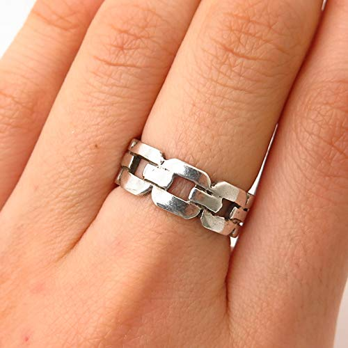 925 Sterling Silver Vintage Coro Link Design Band Ring Size 6.5 Jewelry by Wholesale ()