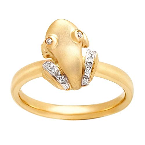 Coquí (Tree Frog) 14K Solid Yellow Gold Ring with Diamond Legs and Diamond Eyes