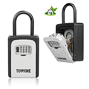 TOWOKE Key Lock Box For Outside – Weatherproof Lock box For House Key, Resettable 4-Digit Combination Lockbox, Key Storage with Loop for House, Hotels, Airbnb, Schools, Large Capacity -Updated Version