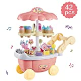 Vokodo Large Ice Cream Cart 39 Piece Dessert Candy Trolley Kitchen Toy Set with Lights Music Umbrella Food Dishes Kids Educational Pretend Play Truck for Children Inspires Early Learning