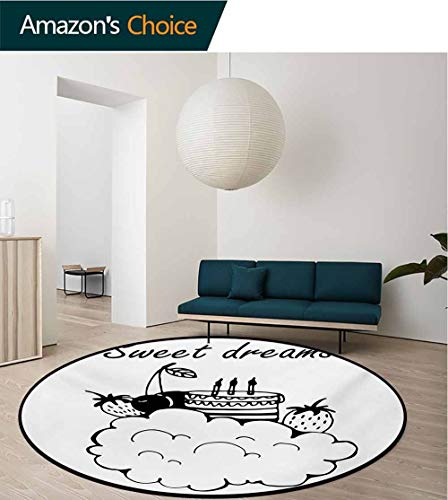 Sweet Cakes Flannel - RUGSMAT Sweet Dreams Modern Flannel Microfiber Round Area Rug,Doodle Style Birthday Cake with Berry Fruits On A Cloud Monochrome Design Living Room Bedroom Study Soft Carpet,Diameter-47 Inch