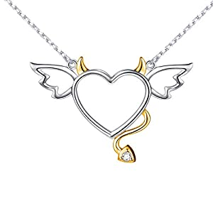 DAOCHONG Two-Tone 925 Sterling Silver Devil Heart with Wings Pendant Necklace for Women Girls Halloween Gift