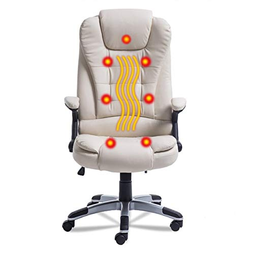 Simoner Heated Office Massage Chair, Upgraded 7 Point Heating Gaming Massage Chair, High-Back PU Leather Computer Desk Chair- Ergonomic Executive Chair w/360 Degree Adjustable Height & Armrest (white)