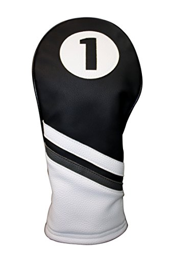 Golf Headcover Black and White Vintage Leather Style Driver Head Cover Fits 460cc Drivers