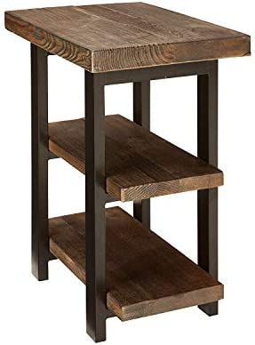 Bolton Furniture Pomona Metal and Reclaimed Wood 2-Shelf End Table