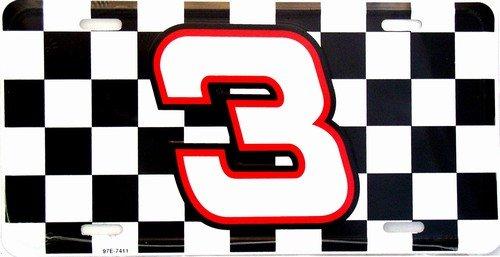 Smart Blonde Dale Earnhardt NASCAR #3 Checkered Racing Flag Novelty Vanity Metal License Plate Tag Sign