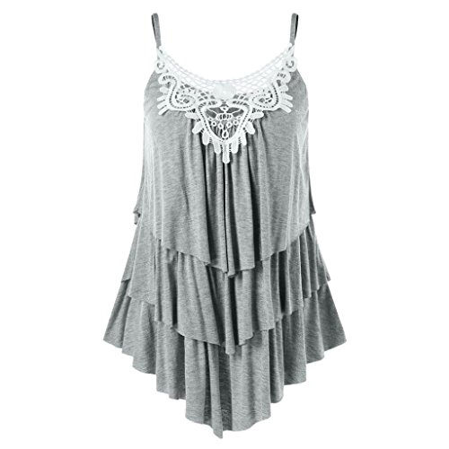 Clearance Sale! Wintialy Women Casual Sleeveless Asymmetrical Lace Applique Layered Cami Tank Top Bears Long Sleeve Layered Tee