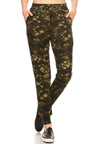 - ShoSho Womens Joggers Track Pants Side Striped Contrast Waist Tie Dye Print Green Small