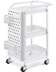 Kingrack Wózek kuchenny, 3-dniowy, metalowy, uniwersalny wózek na kółkach, biały, do kuchni, kosmetyków, regałów z płytką z otworami, kółka, uchwyty, kółka blokujące, wózek do serwowania do biura, garażu