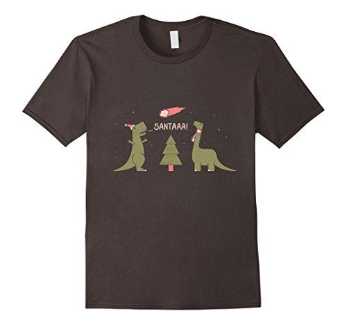 Men's Santa is coming T rex shirt funny christmas sarcasm XL Asphalt
