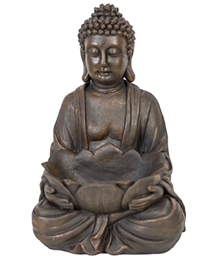 WHW Whole House Worlds Seated Buddha with Bowl, for Gardens and Indoor Areas, Rustic Brown, Faux Stone Finish, Hand Cast Polyresin, 12 Inches Tall