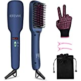 IEFEVIVI Hair Straightener Brush Lonic-2-in-1 Straightening Brush Iron with Anti-Scald Feature, Auto Temperature