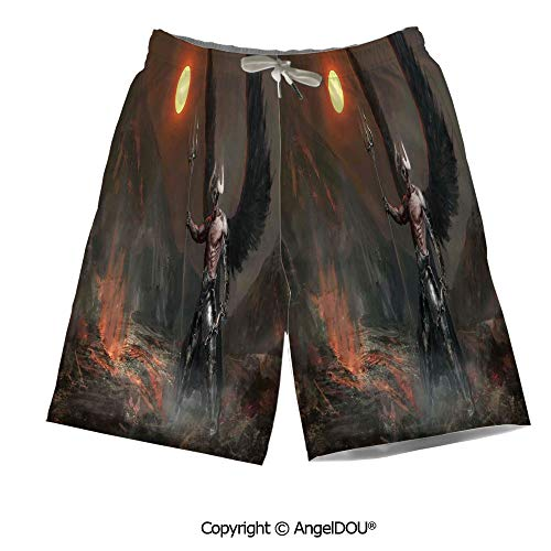 AngelDOU Men Waist Stretch Drawstring Swim Pants Shorts,Lantern,Oriental Firewor
