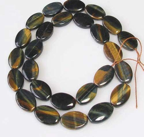 (Midnight Blue Tigereye Flat Oval Bead (13 Beads) 7.75 inch Strand for Jewelry Making 10243HS)