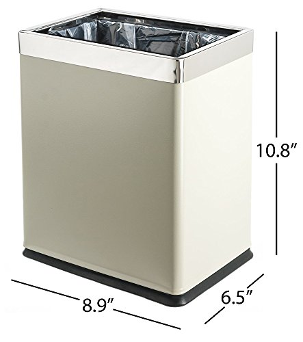 Brelso 'Invisi-Overlap' Open Top Metal Trash Can, Small Office Wastebasket, Modern Home Décor, Rectangle Shape (Light Gray)