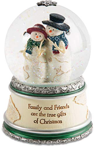 Pavilion Gift Company Pavilion-Family and Friends are The True Gifts of Christmas-Winter Wonder Land Snow Snowman Figurines 6 Inch Musical Water Globe Beige
