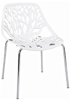 Fancierstudio Birch Sapling Plastic Accent Chair, White Set of 2