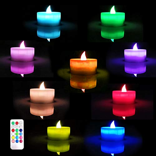 - 7 Color Flickering Tea Light Candle, Flameless AAA Battery Operated Tealight, Electric LED Faux Candles for Votive Glass Holder, Home Wedding Seaonal&Festival Lights Celebration, Amber Warm White.