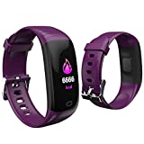 Sonmer Waterproof Sports Wristband with Sleep Blood Pressure Heart Rate Monitor Running Mode Sedentary Reminder Remote Photograph Stopwatch Count-down Event Reminder Function (Purple)