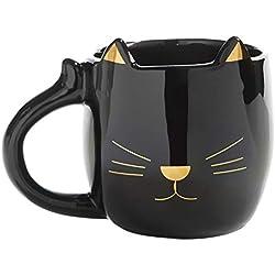 Taza de cerámica brillante con diseño de gato, color negro y dorado, 9 onzas