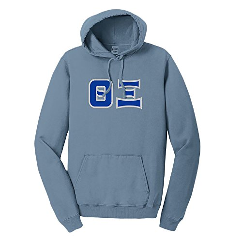- Greekgear Theta Xi Pigment-Dyed Lettered Hooded Sweatshirt X-Large Mist