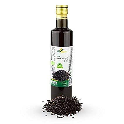 Negro aceite de sésamo orgánico certificado prensado en frío 500 ml biopurus