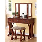 Poundex Vanity Table with 3-Panel Mirror and Cushioned Stool (Cherry)